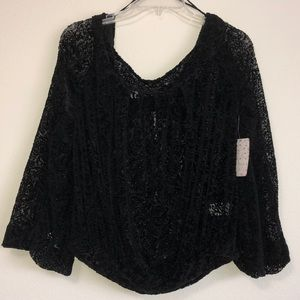 FREE PEOPLE SEMI SHEER BLACK VELVET LACE TOP